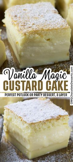 Easy Vanilla Magic Custard Cake is an easy dessert that could be perfect for a potluck or a party. One simple batter that turns into 3 different layers when baked. desserts for two Vanilla Magic Custard Cake Diy Dessert, Smores Dessert, Dessert Dips, Dessert Cake Recipes, Easy Cake Recipes, Sweet Recipes, Light Dessert Recipes, Dessert Food, Quick Easy Desert