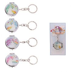 Our range of compact mirrors are made from metal and glass and are printed with fun and colourful designs across a range of themes that will appeal to boys and girls, young and old. Single item, random design supplied. Dimensions: Mirror Height 4cm Width 3.5cm Depth 0.5cm Total Length 8.5cm (approx: mirror 1.5 x 1.25 x 0.25 inches; total length 3.5 inches) Compact Mirror, Rainbow Unicorn, Key Rings, Make Up, Personalized Items, Colourful Designs, Metal, Glass, Makeup