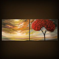 22 x 56 x .75 thick original acrylic abstract painting on TWO 22 x 28 gallery wrapped stretched canvases. Title: Red Tree - Arrives signed on the