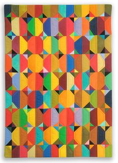 Gorgeous modern quilt with solid colors Quilting Tutorials, Quilting Designs, Beginner Quilting, Quilt Design, Quilting Ideas, Circle Quilts, Quilt Blocks, Triangle Quilts, Snowball Quilts