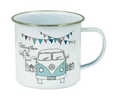 Campervan Gift - VW Getting There is Half The Fun Campervan Tin Mug, £5.95 (http://www.campervangift.co.uk/vw-getting-there-is-half-the-fun-campervan-tin-mug/)