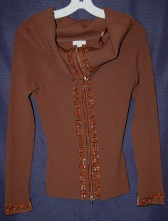Cache Beaded Ribbed Sweater Shirt Brown Zipper Front Size Medium #Style #Fashion #Deal