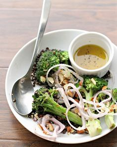 Honey Mustard Broccoli Salad with Beluga Lentils from Eats Well With Others.