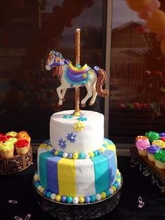 carousel baby shower cake | Lovely carousel birthday cake! See more party ideas at CatchMyParty ...