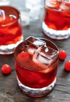 Cherry Whiskey Smash Cocktails.