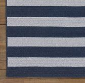 Striped Braided Wool Rug in gray/navy from RH.