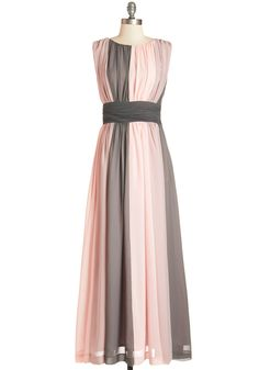 Pink and Gray Maxi Dress