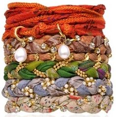 fabric bracelets diy - silk ribbons braided with chains, beads, vintage tennis bracelet links. Ribbon Jewelry, Jewelry Crafts, Jewelry Art, Fabric Bracelets, Braided Bracelets, Stack Bracelets, Textile Jewelry, Fabric Jewelry, Diy Braids
