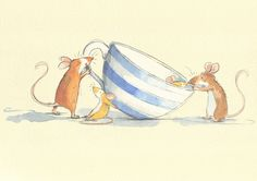 Illustration by Anita Jeram Cartoon Pics, Cute Cartoon, Hamsters, Anita Jeram, Baby Images, Funny Illustration, Children's Picture Books, Cute Drawings, Watercolor Paintings