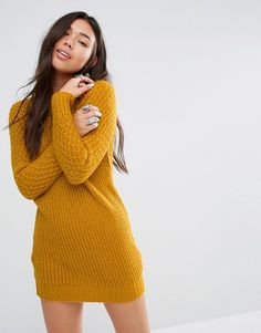 Image 1 of Boohoo Aran Sleeve Sweater Dress