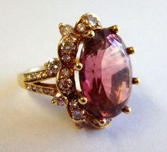 Stunning 18K Pink Tourmaline And Diamond Ring 11.25 TCW, Weighs 10.5g, Size 4.5