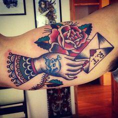 Hand envelope rose tattoo - Matt Chahal