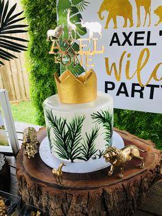 Wild One Safari birthday party theme . Wild One Safari Safari Birthday Cakes, Jungle Theme Cakes, Jungle Theme Birthday, Safari Theme Party, Safari Cakes, Jungle Party, Boys First Birthday Party Ideas, Wild One Birthday Party, Baby Boy First Birthday