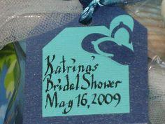 Beach theme bridal shower favor tag