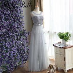 Modabelle Gray Long Bridesmaid Dresses With 3D Flowers Pearls Bruidsmeisjes Jurk Tulle Wedding Party Dress Vestido De Festa 2017