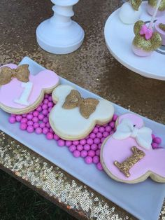 Cookies at a gold & pink Minnie Mouse birthday party! See more party ideas at CatchMyParty.com!
