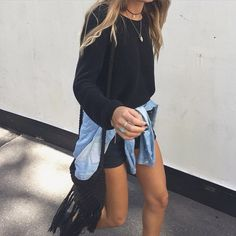 black dress + denim jacket