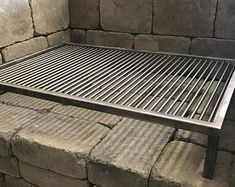 3 Sided Stainless Santa Maria Height Adjustable Grill with Free Float Round Rod Grate by JD Fabrications Barbecue Grill, Grilling, Backyard Bbq Pit, Backyard Kitchen, Wood Charcoal, Charcoal Grill, Barbacoa, Argentine Grill, Solid Brick
