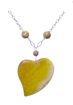 Agate Veins Yellow Heart, 925 Sterling Silver Necklace - Handmade - Natural Stones - Jewelry - FREE SHIPPING de ArtGemStones en Etsy