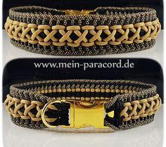 Paracord Halsband Majestic in gold/schwarz/gold-diamonds. Mehr auf www.mein-paracord.de