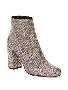 Saint Laurent Babies Glitter Block-Heel Booties - Or Pale - Size 35.5