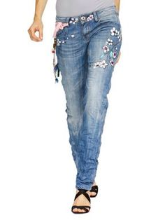 These are really cute./ Desigual - not just painted jeans but a cute button at the waist too