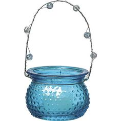 Turquoise Blue Hanging Candle Holder and Vase (hobnail design).  Glass dimensions: 3 inches x 2.25 inches high. Playfully painted vintage vessels. Glass with beaded wire handles. Can be hung or placed on flat surface. Perfect for weddings! For use with tea light candles, battery lights or flowers.