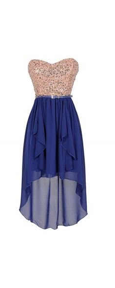 Moon and Stars Gold and Blue Belted Sequin High Low Dress