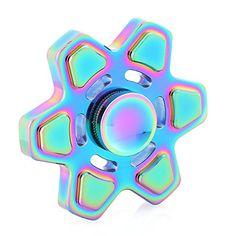 Hexagonal Rainbow Color Fingertip Tri-Spinner Fidget Toy Metal Hand Spinner For Autism EDC Fidget Spinner Rainbow Fidget Spinner, Cool Fidget Spinners, Metal Fidget Spinner, Edc Spinner, Hand Spinner, Stress Toys, Stress Relief Toys, Pokemon Go, Hand Fidgets