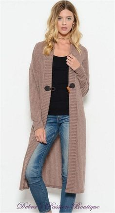 By the Fireplace Long Ribbed Cardigan - Mocha - Debra's Passion Boutique - 1