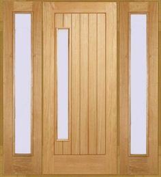 Newbury 1-light Oak Front Door with Sidelight/s