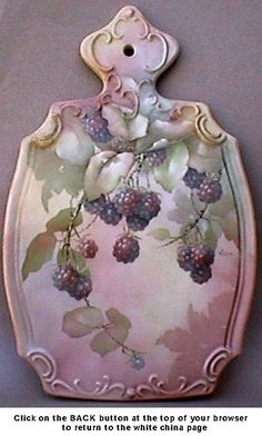 Ann Cline China - White China - Tiles, Plaques and Cheese Boards Painted Porcelain, Hand Painted Ceramics, Porcelain Ceramics, China Porcelain, Twig Art, China Art, China Painting, Fruit Art, Blackberries