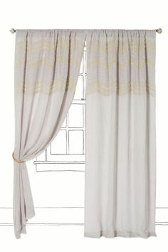 Beaded yellow and neutral curtains. Spare Bedroom/Office window