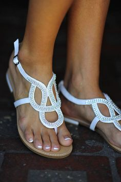 Follow My Lead Sandals: White/Silver   Hope's