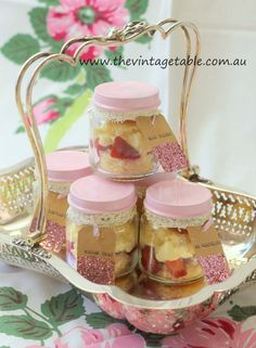 Strawberry Shortcakes in Jars for a vintage picnic or afternoon tea.