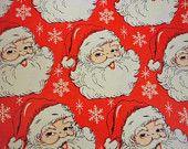 Vintage Santa Christmas Wrapping Paper 1960s Beard Red White Mod Design NOS Full Unused Sheet