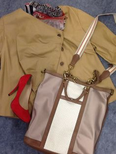 Lafayette 148 Tan Leather Jacket; Size 20 $165.00 Chicos Print Scarf $16.00 Cole Haan Computer Bag $88.00