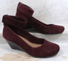 d7cef0ea1ffe Clarks Womens Bassett Mist Burgundy Suede Leather Heels Shoes 02735 size  6.5 M  fashion