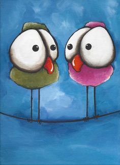 Original acrylic painting canvas fine art green pink whimsical bird on a wire #IllustrationArt $35.00