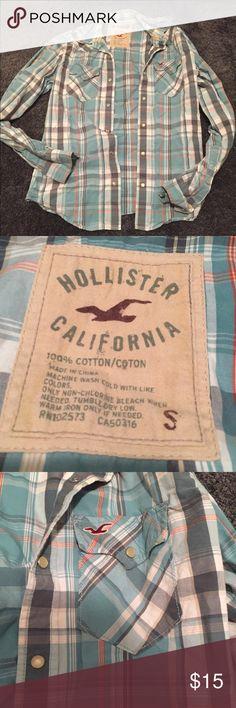 [Hollister] Men's Blue Plaid Button Down Men's small snap closure button down shirt. Blue grey orange plaid color. In good used condition. Hollister Shirts Casual Button Down Shirts