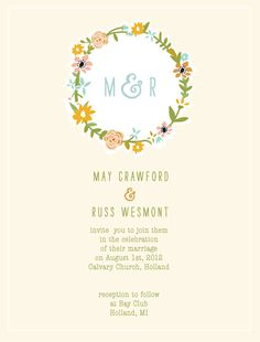 Floral Wreath Printable Wedding Invitations by mylittlebuffalo, $60.00