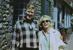 """A picture of Marilyn & a beloved fan. In Alberta Canada while filming """"River of No Return"""" 1953."""