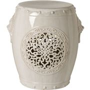 Limited Production Design & Stock: White Chinese Medallion Garden Stool * Min Order 2 Units * Click Image For Full Screen View