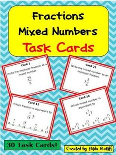 These cards give students extra practice (1) changing mixed numbers to improper fractions, (2) changing improper fractions to mixed numbers, (3) identifying equivalent fractions, and (4) identifying equivalent mixed numbers.