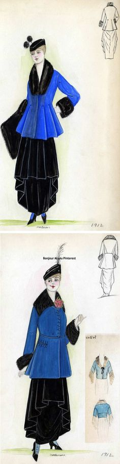 Designs for two different Callot Soeurs outfits from 1912. Both are black dresses (different styles; the one on the bottom includes sketches of the bodice) with royal blue jackets with black fur trim on collars and sleeves. The one on top includes a black fur muff. From the Bendel Collection at the Brooklyn Museum