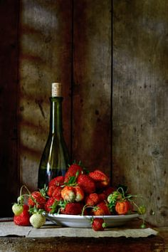 Strawberry and Bottle of Wine