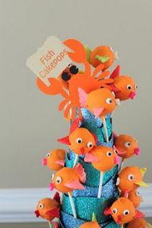 "Under the Sea cake pops---bry would love these! All about ""fishiieeess""  and the water!"