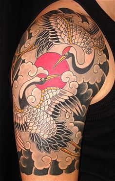 Japanese Crane Tattoos On Right Shoulder