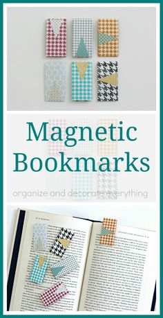 These Magnetic Bookmarks are so great! They keep your place in your book and never slip out Bookmark Craft, Sewing Tutorials, Sewing Crafts, Sewing Projects, Craft Projects, Homemade Bookmarks, Diy Bookmarks, Creative Bookmarks, Marque Page
