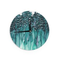 Kess InHouse Ebi Emporium 'Forest Through The Trees 5' Teal White Wall Clock (Forest Through The Trees 5), Green (Wood)